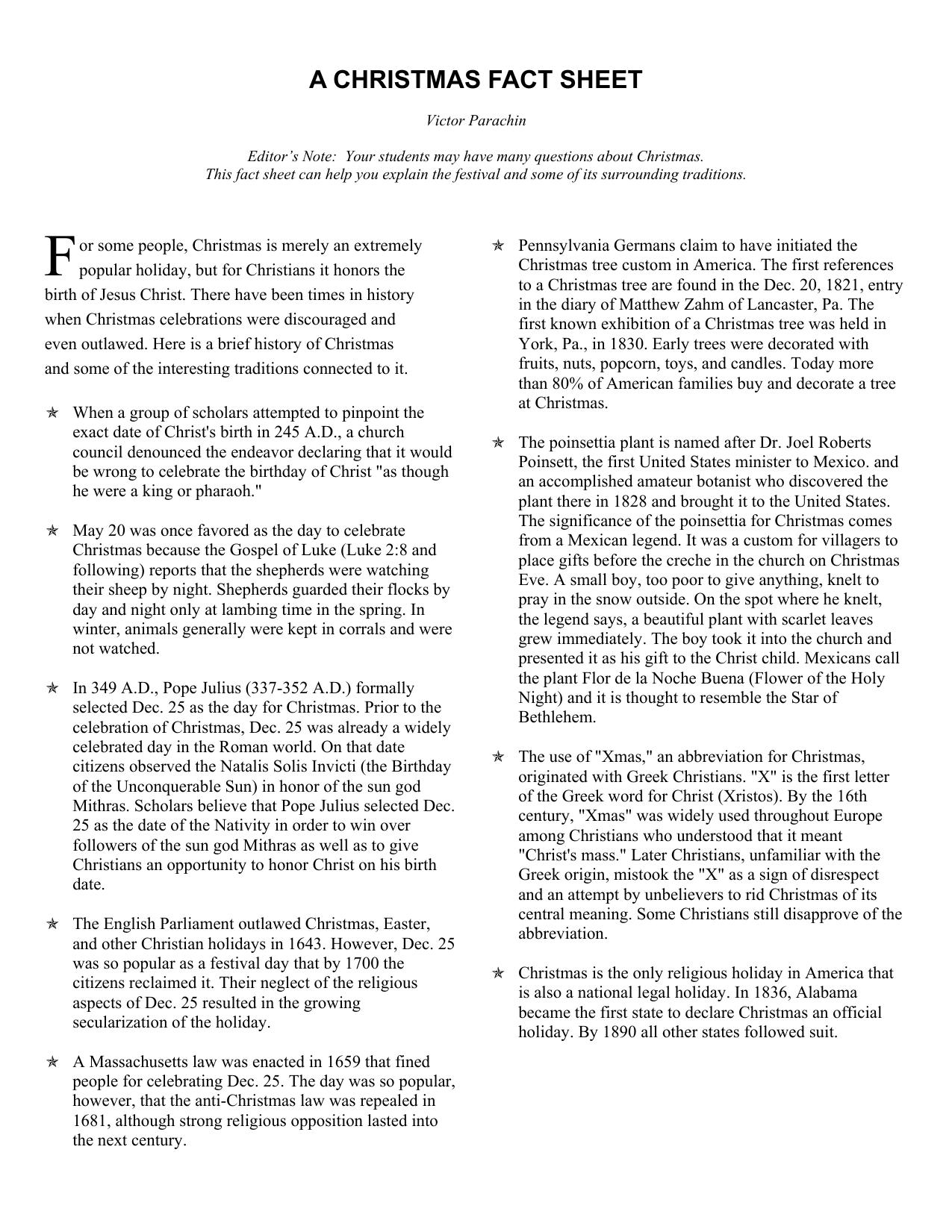 Christmas History In English.Christmas Fact Sheet