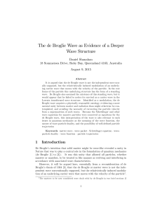 The de Broglie Wave as Evidence of a Deeper Wave Structure