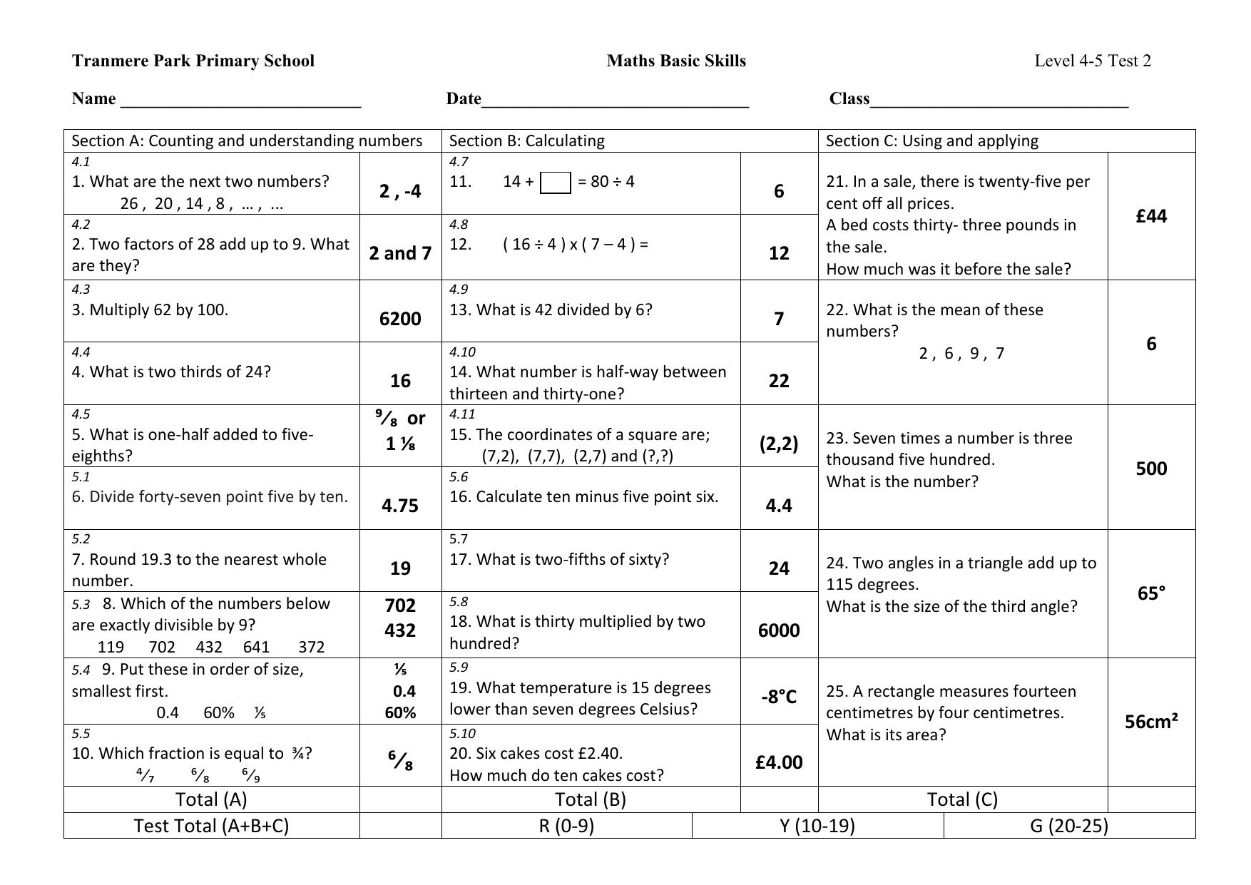Level 4-5 Test 2 answers - Tranmere Park Primary School