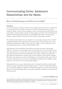 Communicating Online: Adolescent Relationships and the Media