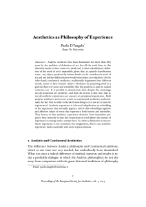 Aesthetics as Philosophy of Experience