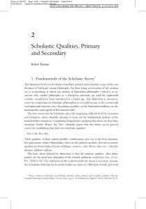 Scholastic Qualities, Primary and Secondary