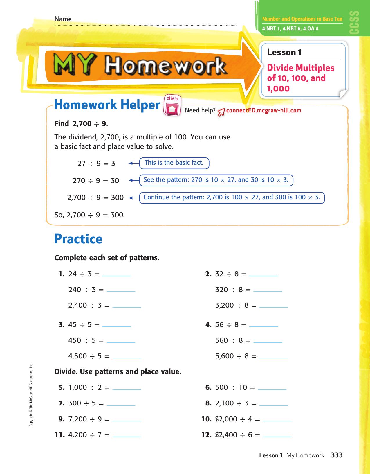 my homework lesson 9 estimate quotients