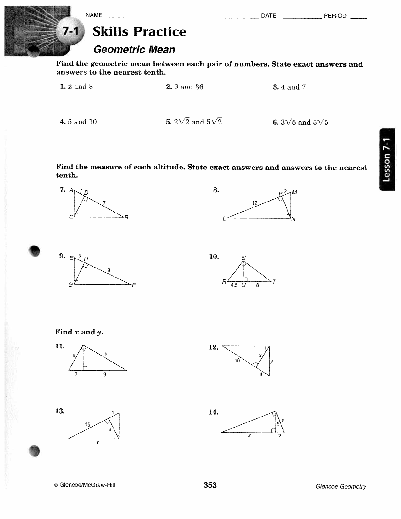 Printables of Geometry Geometric Mean Worksheet Answers - Geotwitter ...