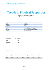 Trends in Physical Properties