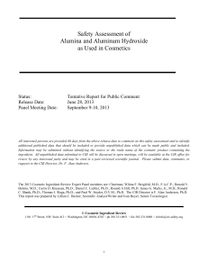 Safety Assessment Of Alumina And Aluminum Hydroxide As Used