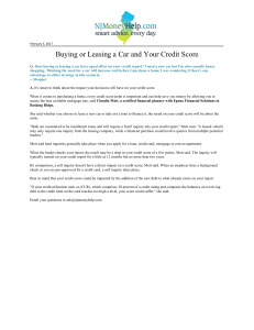 Buying or Leasing a Car and Your Credit Score