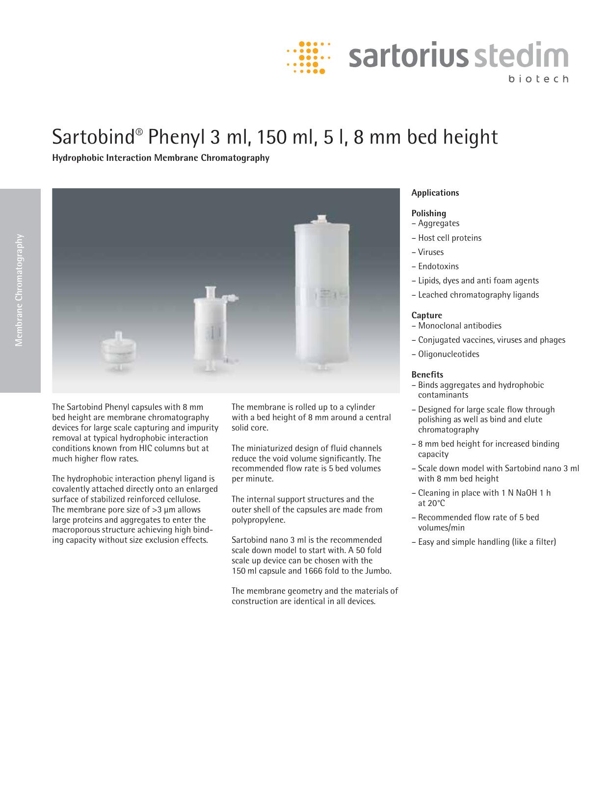Sartobind Phenyl 3 Ml 150 Ml 5 L 8 Mm Bed Height