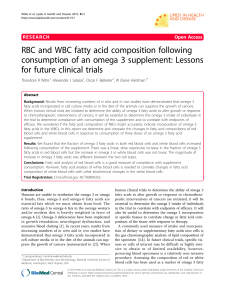 RBC and WBC fatty acid composition following consumption of an