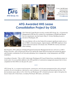 AFG Awarded HHS Lease Consolidation Project
