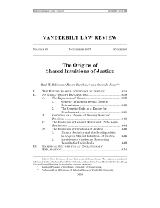VANDERBILT LAW REVIEW The Origins of Shared Intuitions of Justice