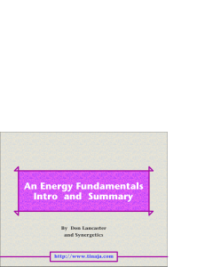 An Energy Fundamentals Intro and Summary