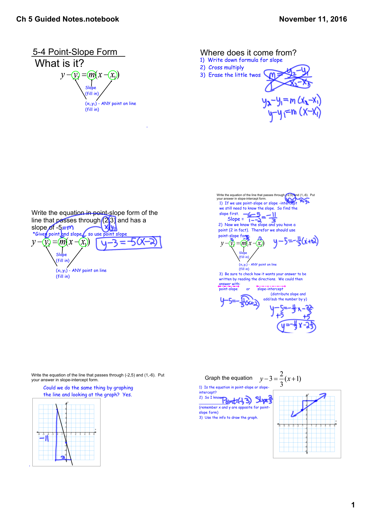 point slope form guided notes  13-13 Point-Slope Form and 13-13 Horizontal and Vertical Lines
