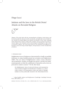 Diego Lucci Judaism and the Jews in the British Deists` Attacks on