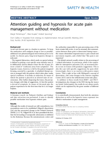 Attention guiding and hypnosis for acute pain