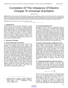 Correlation Of The Imbalance Of Electric Charges To Universal