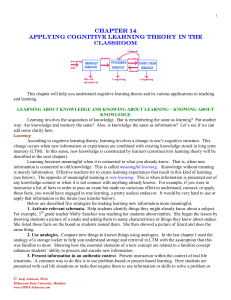 chapter 14 chapter 14 applying cognitive learning theory in the