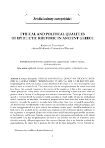 ethical and political qualities of epideictic rhetoric in ancient greece