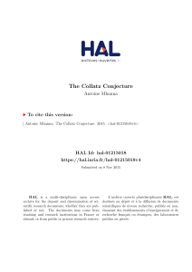 The Collatz Conjecture - HAL