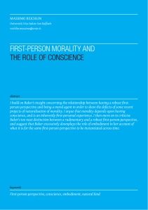 FIRst-PeRson MoRALIty AnD tHe RoLe oF ConsCIenCe