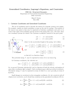 Generalized Coordinates, Lagrange`s Equations, and Constraints 1
