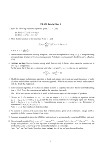 CSL 630, Tutorial Sheet 1 1. Solve the following recurrence