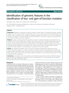 Identification of genomic features in the classification of loss