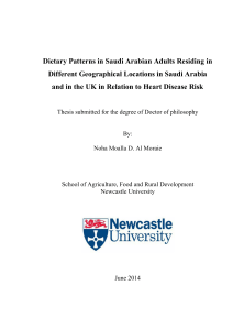 Dietary Patterns in Saudi Arabian Adults Residing in Different