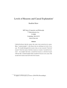 Levels of Reasons and Causal Explanation