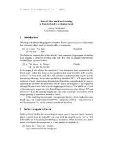 Dative Clitics and Case Licensing in Standard and Macedonian Greek