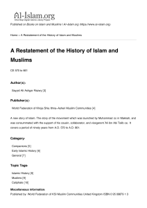 A Restatement of the History of Islam and Muslims - Al