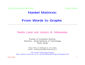Hankel Matrices: From Words to Graphs