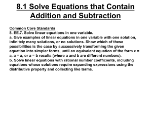 8.1 Solve Equations that Contain Addition and Subtraction