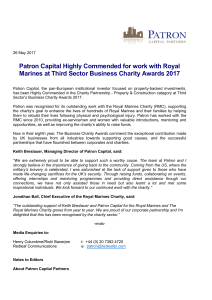 Patron Capital Highly Commended for work with Royal Marines at