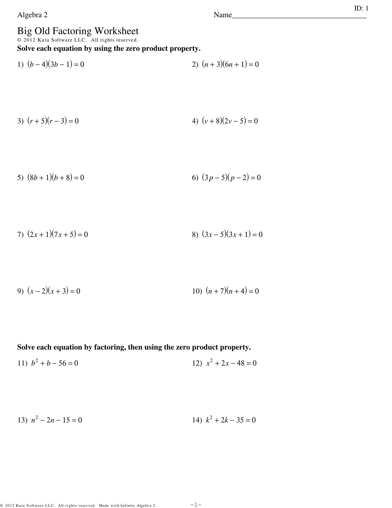 Algebra 2 Big Old Factoring Worksheet
