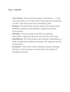 CELL THEORY Cell Theory: There are three parts to cell theory — 1