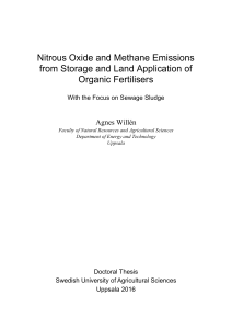 Nitrous Oxide and Methane Emissions from Storage and Land