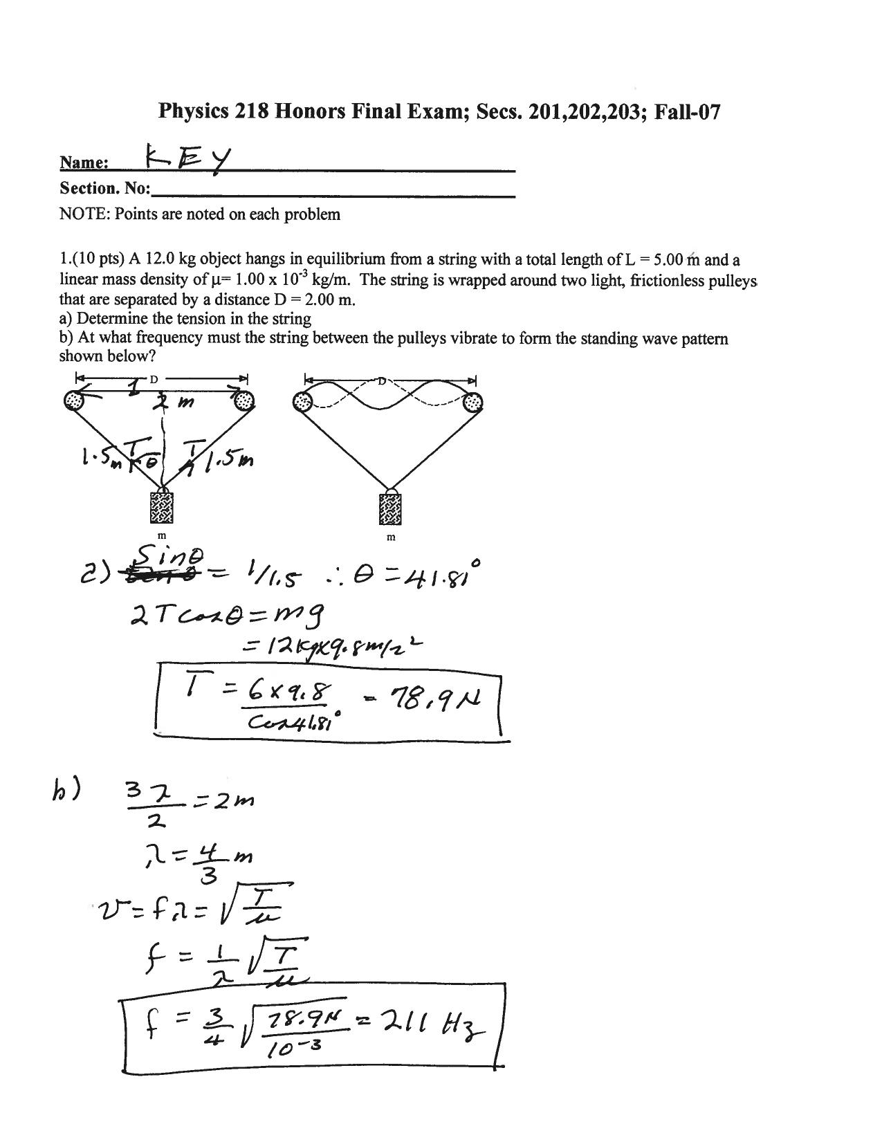 Physics 218 Honors Final Exam