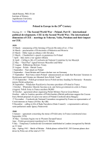 Poland in Europe in the 20 Century Meeting 10 – 12 The Second