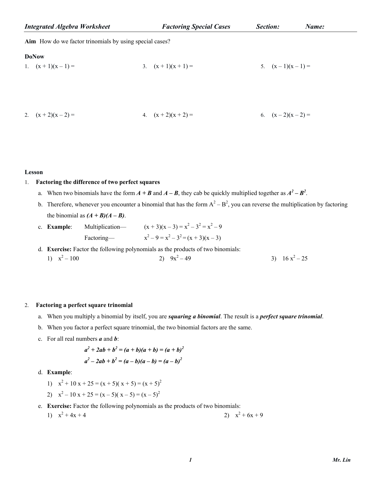 Difference Two Perfect Squares Worksheet Switchconf