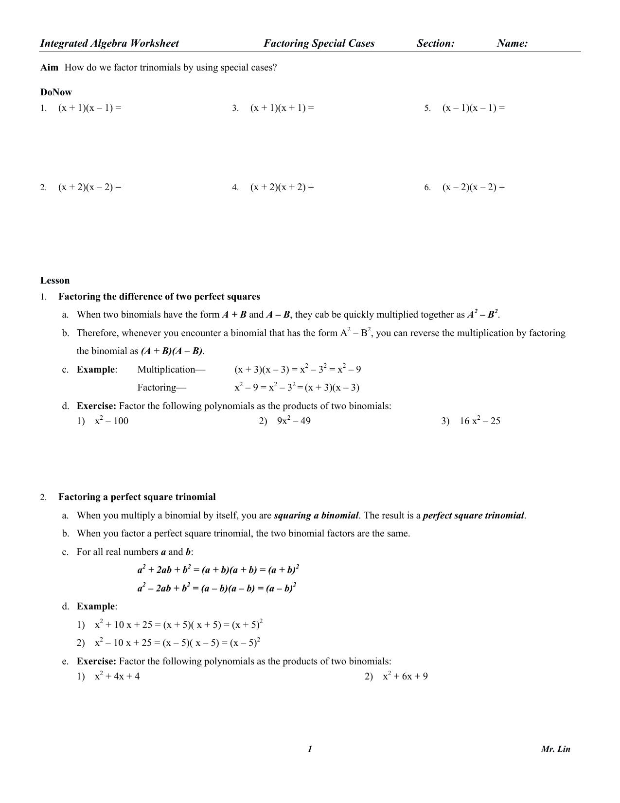 Algebra Worksheet 04 Factoring Special Cases