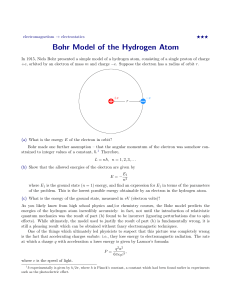 Bohr Model of the Hydrogen Atom