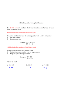 15 Adding and Subtracting Real Numbers The absolute value of a
