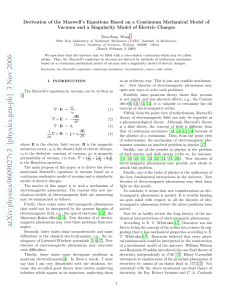 Derivation of the Maxwell`s Equations Based on a Continuum