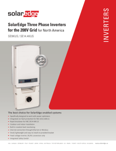SolarEdge Three Phase Inverters for the 208V Grid for