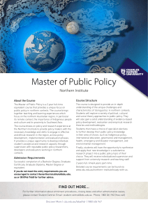 Master of Public Policy - Charles Darwin University
