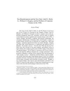 Neo-Brandeisianism and the New Deal: Adolf A. Berle, Jr., William O
