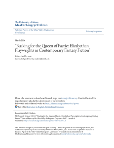 """Busking for the Queen of Faerie: Elizabethan Playwrights in"