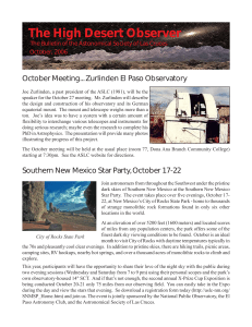 October, 2006 - The Astronomical Society of Las Cruces