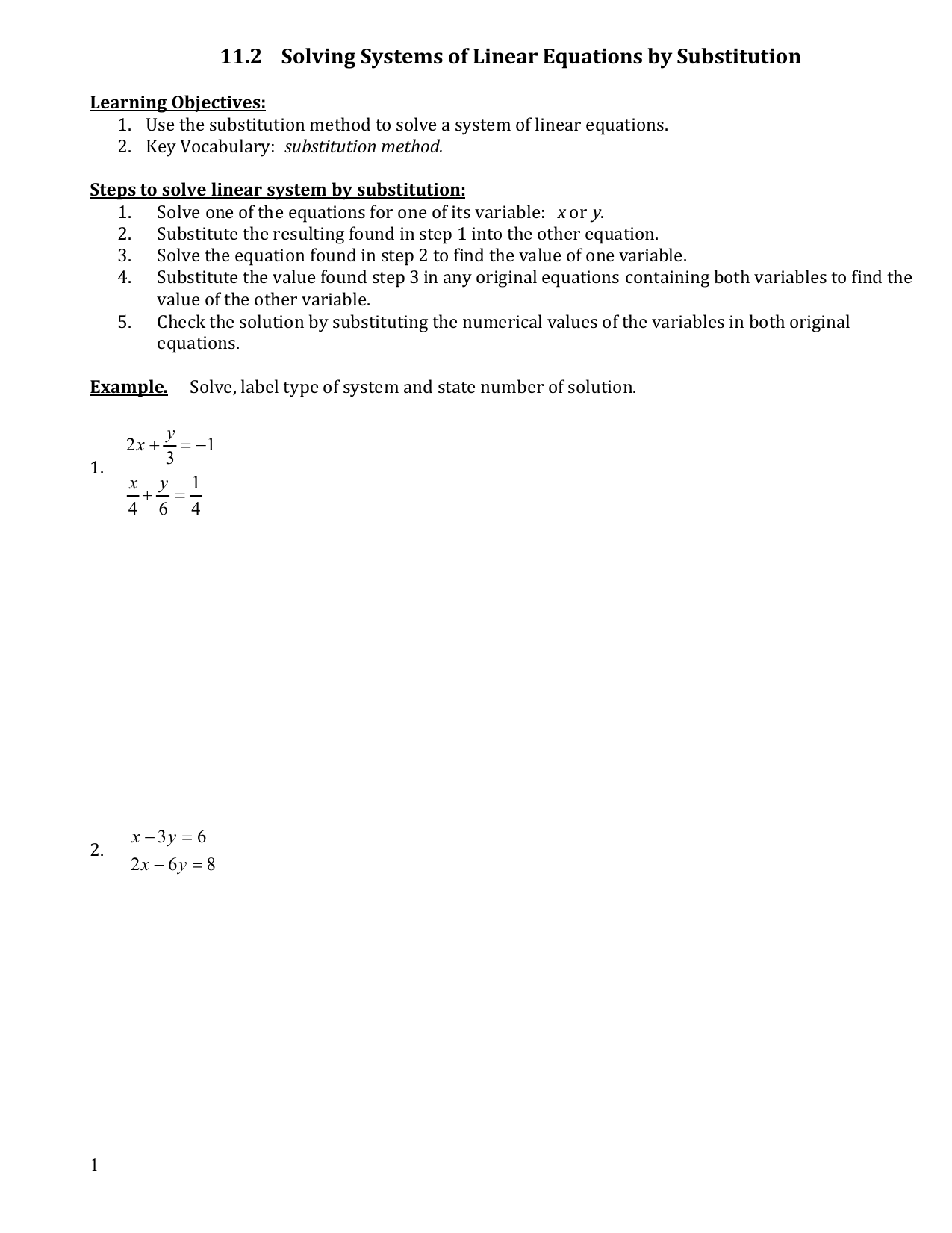 11 2 Solving Systems Of Linear Equations By Substitution